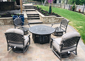 Back patio hardscape with paver stairs c