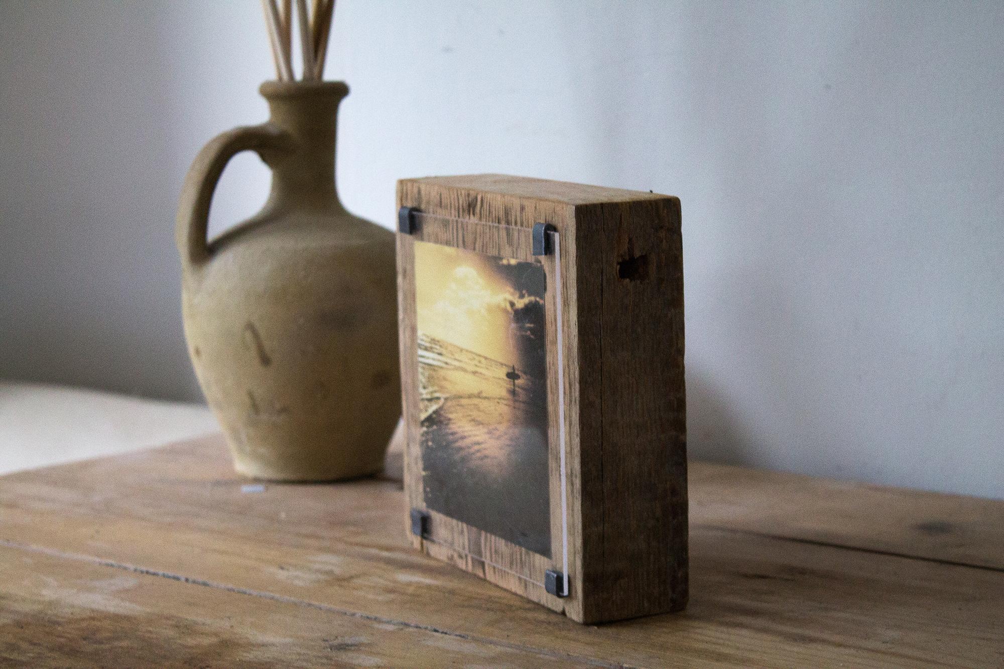 Sunset surf photo wood block
