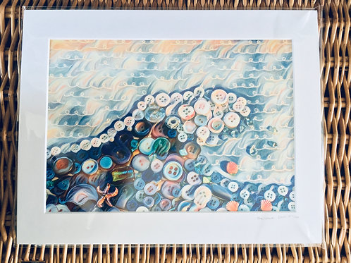 'Art from My Art' Button The Wave Print (Limited Edition)