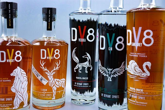 DV8 Distillery products - Whiskey, Gin, Vodka