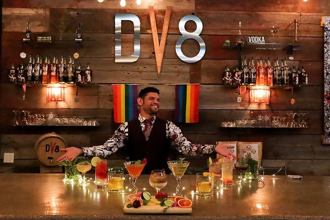 DV8 Distillery Bartender photo with cocktails