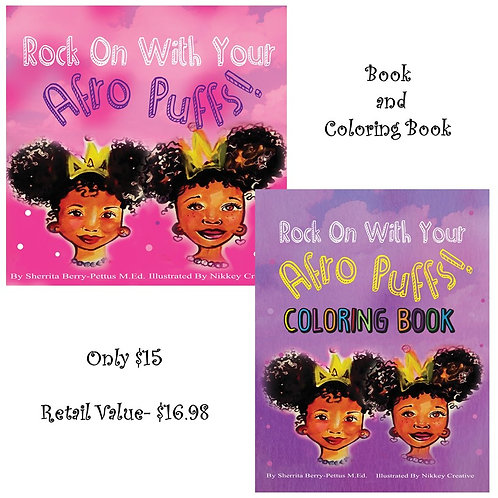 Rock On With Your Afro Puffs Book and Coloring Book Combo