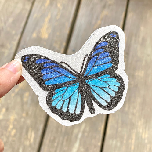 Blue Butterfly Glitter Sticker