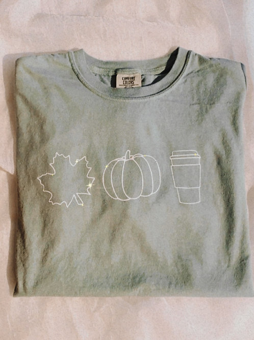 Leaf, Pumpkin and Coffee Tee