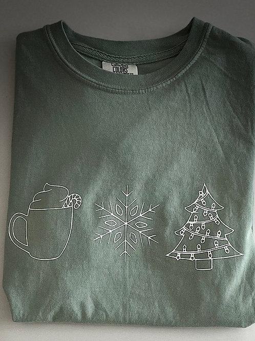 Hot Cocoa, Snowflake, and Christmas Tree Tee