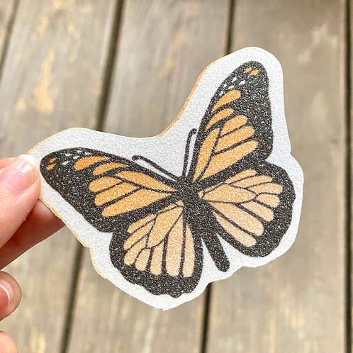Orange Butterfly Glitter Sticker
