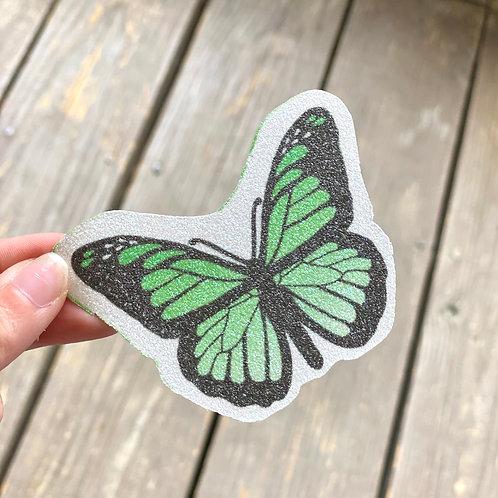Green Butterfly Glitter Sticker