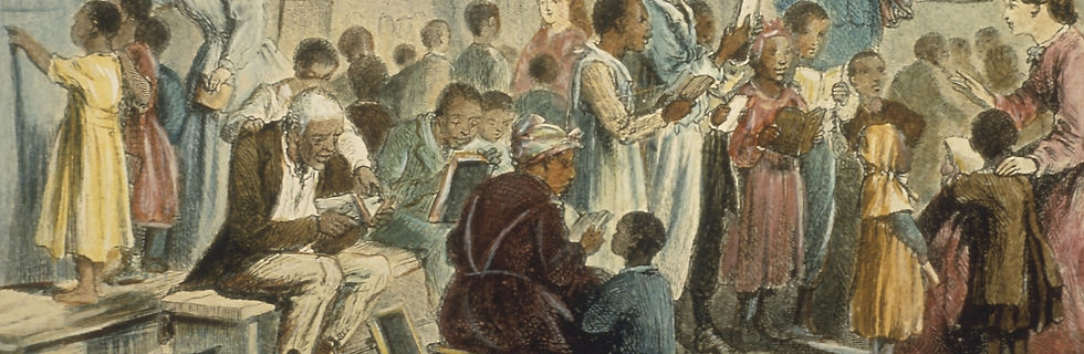 Engraving of Freed black slaves learning to read in school circa 1860.jpeg