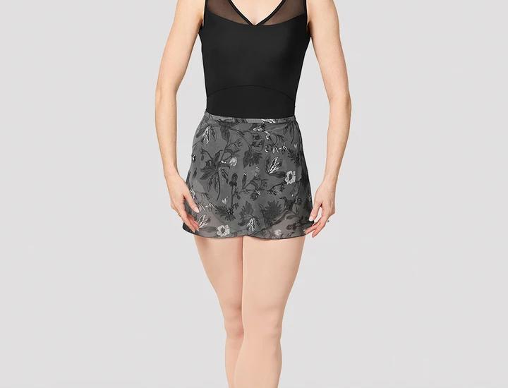 Mirella Ladies Jasmine Print Mesh Wrap Skirt Style Code MS157 Black