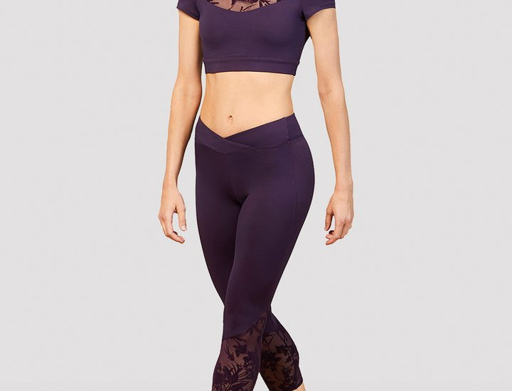 Bloch Adults Bordeaux Mesh Panel Seven Eighth Legging Style Code FP5223