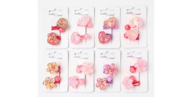 Inca Hair Accessories 2 glitter heart / flower bobbles Style Code 7596