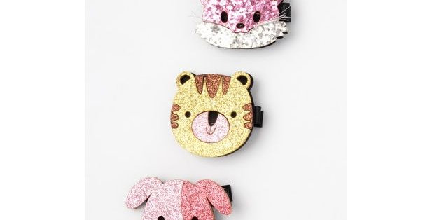 Inca Hair Accessories Glitter animal face beak clips Style Code 7826