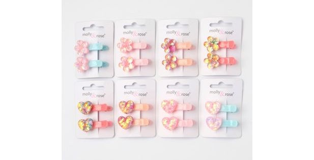 Inca Hair Accessories 2 beak clips with Heart or Flower motif Style Code 7595