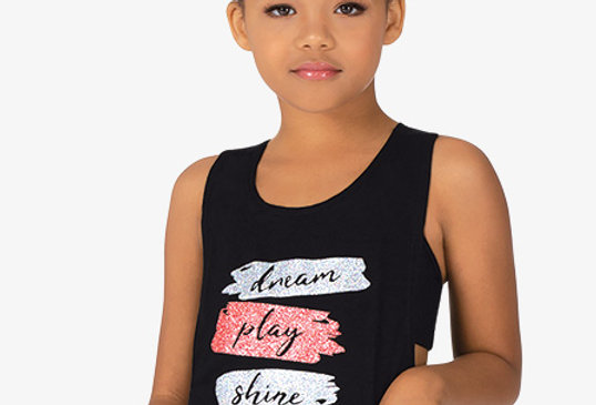 """Bloch Childrens """"Dream Play Shine"""" Knot Back Dance Top Style Code KA047T"""