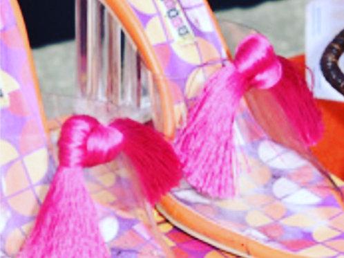 Pink Tassel Shoe Clip Pair