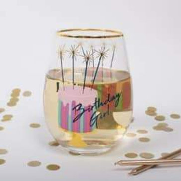 BIRTHDAY CAKE STEMLESS WINE GLASS