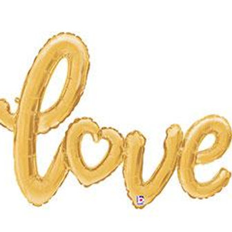 GOLD SCRIPT LOVE BALLOON