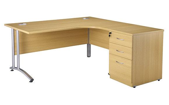 Light Oak Radial Desk 1600