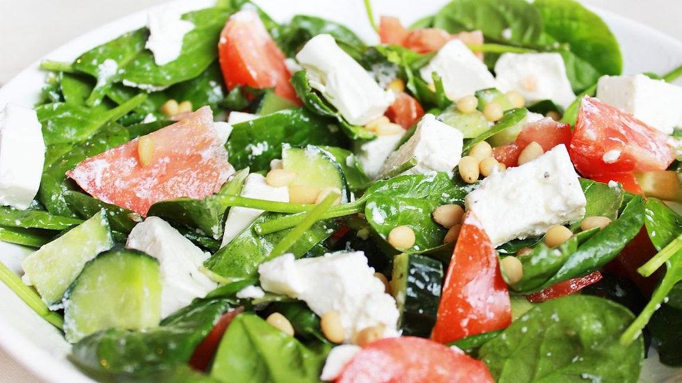 Салат овощной с брынзой и кедровыми орешками 1/120г