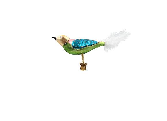 Uccellino multicolor con piuma / Multicolor bird with feather