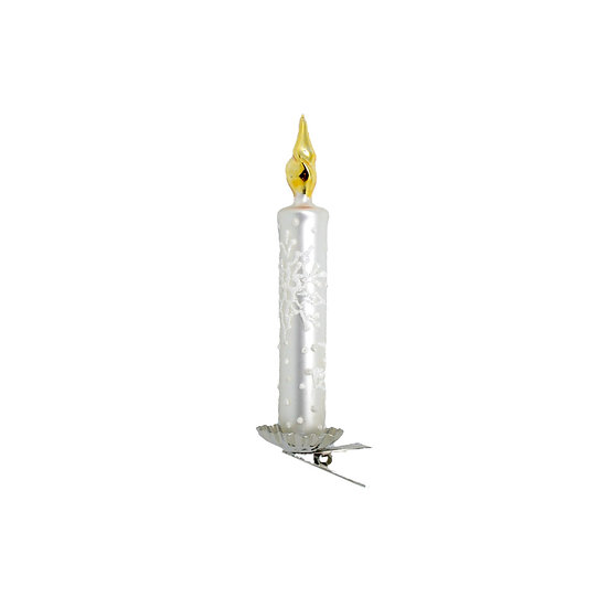 Candela bianca con clip / White candle with clip