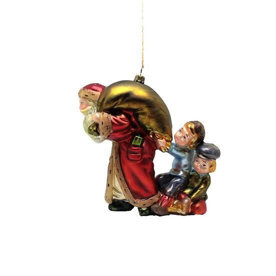 Babbo con sacco e bimbi / Santa with children