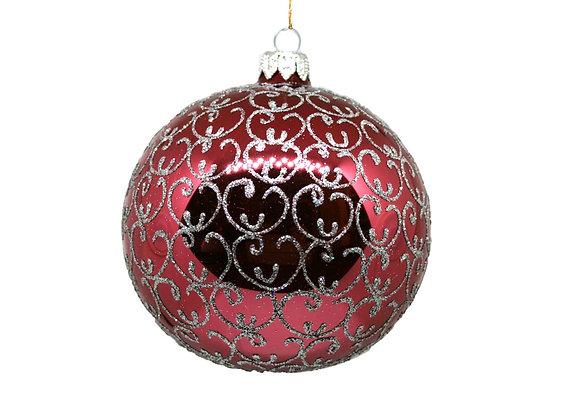 Sfera bordeaux e argento / Burgundy and silver sphere