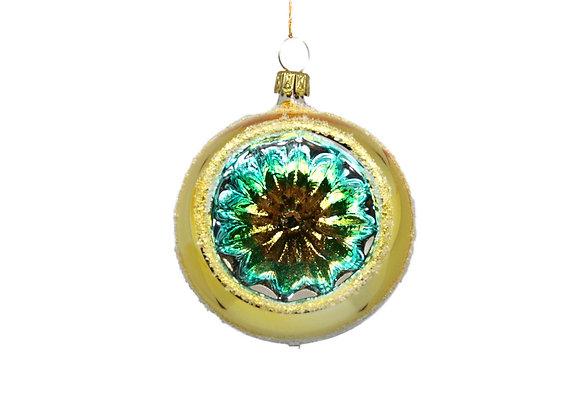 Sfera reflector fiore oro e turchese / Flower reflector sphere gold and turquois