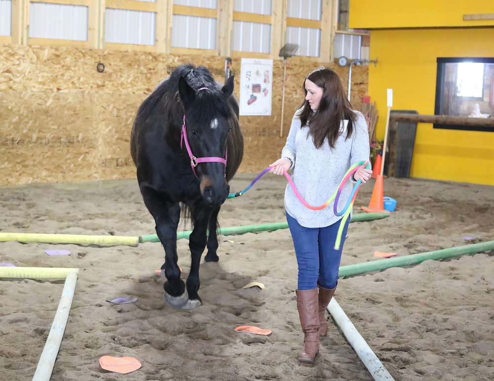 Woman learning life skills by walking horse