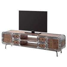 Meuble TV industriel bois métal clair.jf