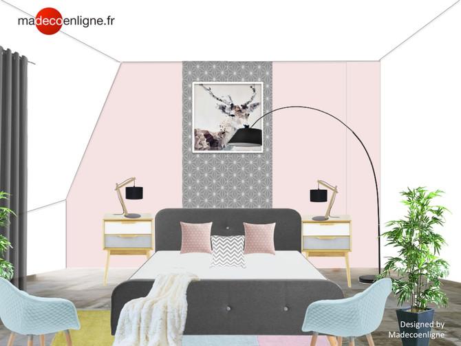 Shoppez cette chambre d'amis scandinave aux accents pastels