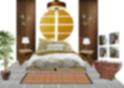Planche déco d'ambiance projet de chambre zen et ethnique