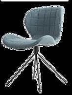 Chaise design velours bleue face.png