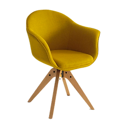 Chaise scandinave vintage jaune moutarde.png