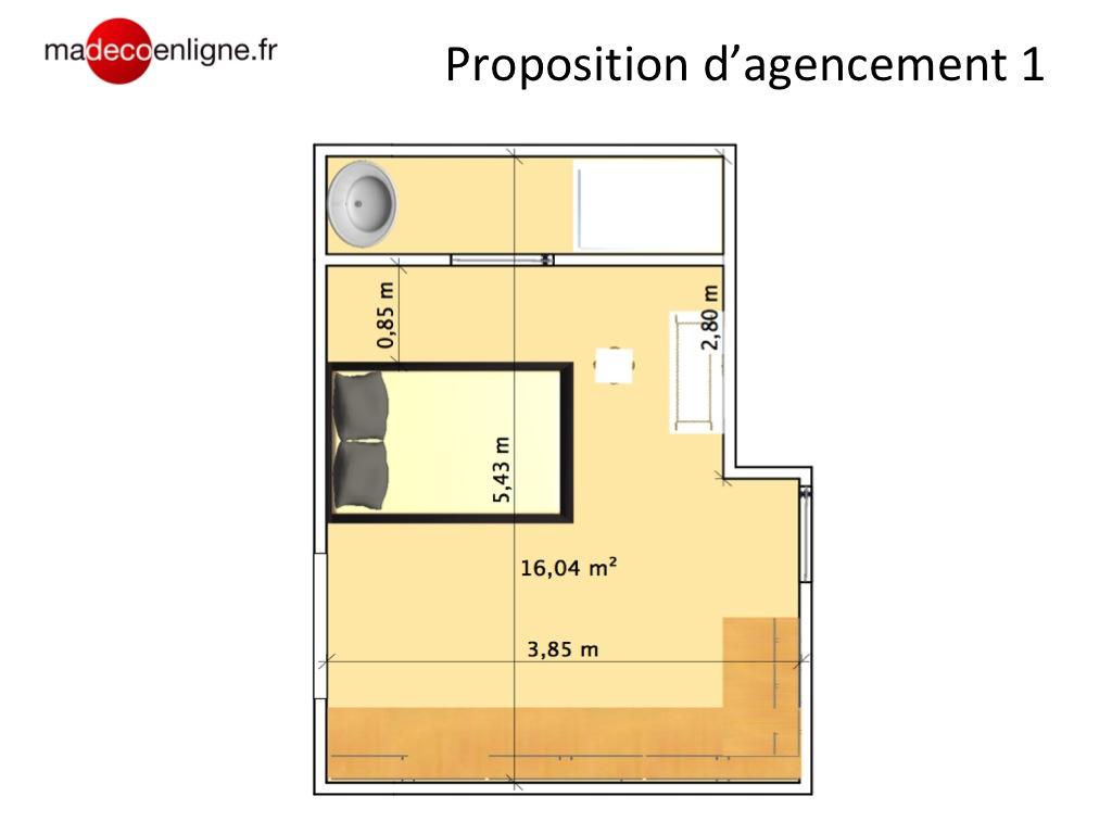Plan Porte À Galandage avant/après : une suite parentale sur plan de 19 m2 bien