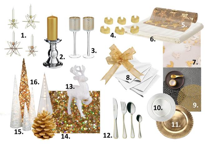 Déco de table pour Noël : or et pailleté (part two)