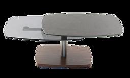 Table basse noyer verre metal articulee.