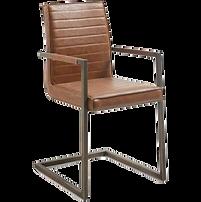 Chaise accoudoirs marron métal.png
