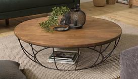 Table basse ronde bois métal filaire.pn