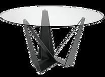 Table repas ronde verre acier noir.png