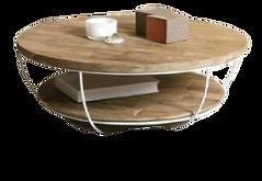 Table basse ronde teck metal blanc.png