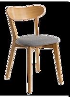 Chaise vintage gris chiné bois face.png