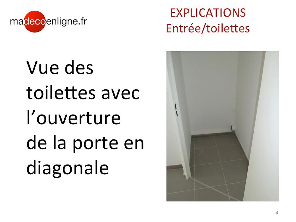 Toilettes porte diagonale