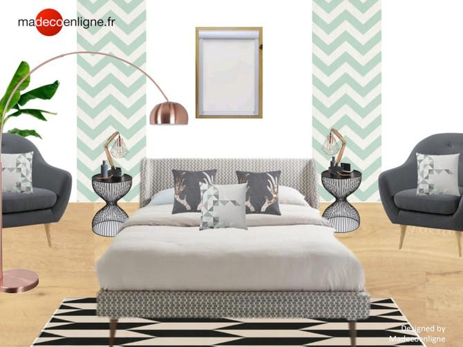 Une chambre d'amis anthracite et vert de gris très chic !