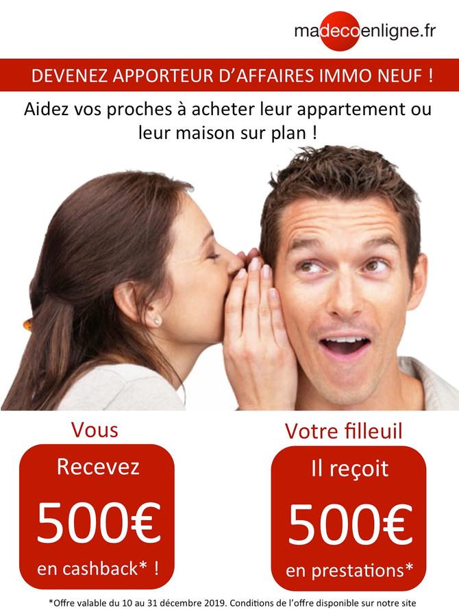 Recevez 500 €en cashback jusqu'au 31 décembre !