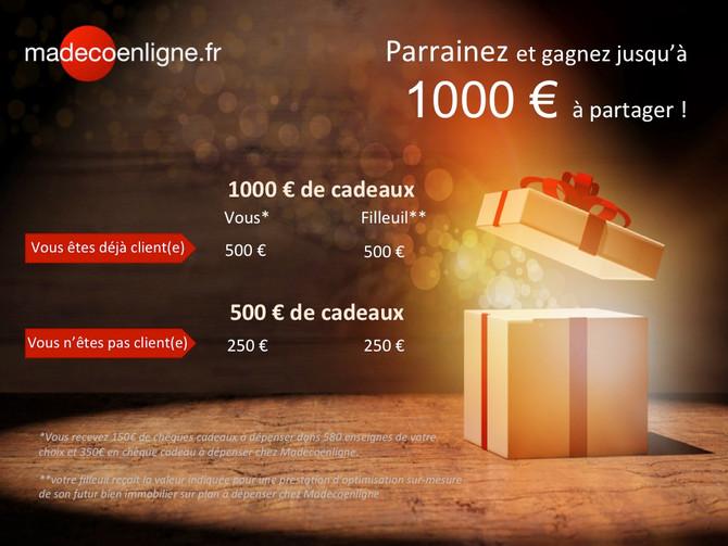 Gagnez jusqu'à 1000 €à partager en parrainant !