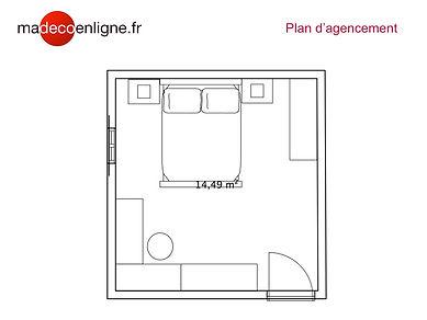 Plan d'agencement relooking chambre zen et ethnique