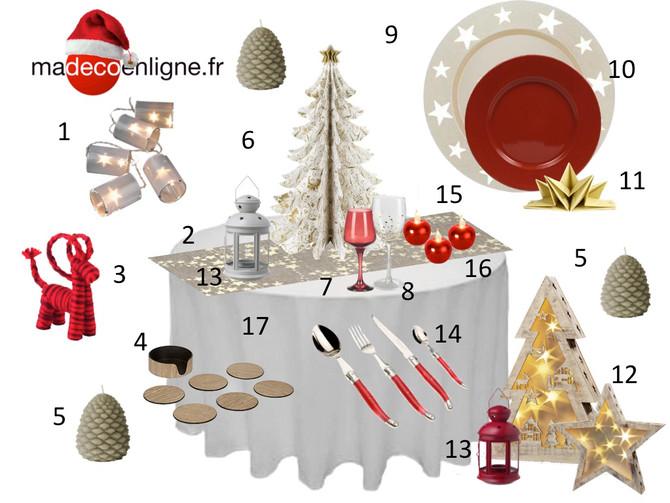 Déco de table pour Noël : rouge et doré