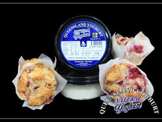 Queensland Yoghurt - Natural Yoghurt Raspberry, White Chocolate and Pistachio Muffins