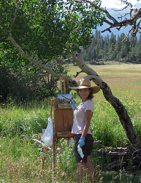 Yvette Rosa painting en plein air, Rocky Mountain National Park